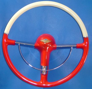 55 - 56 Chevy Belair rd 2 tone w 10 inch horn ring(5)